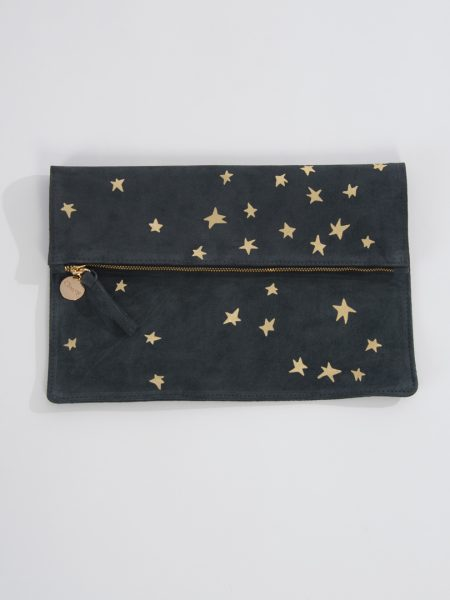 foldover suede clutch 1