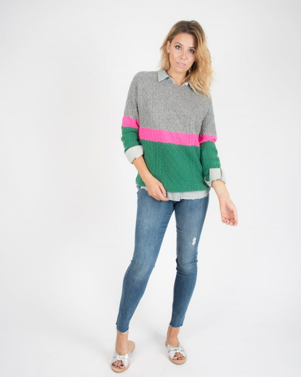 back button crew sweater