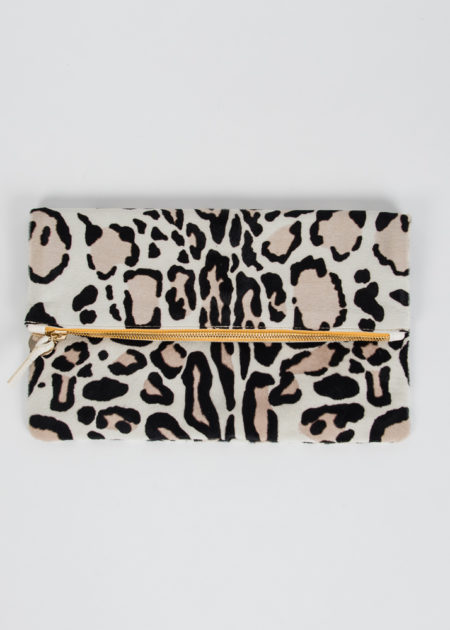 leopard margot fold over clutch